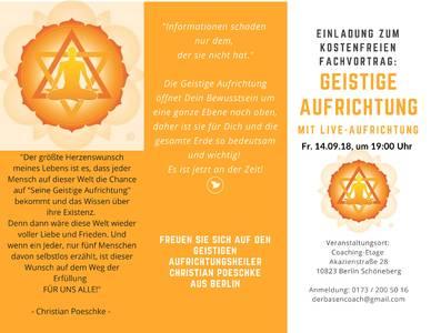 Fachvortrag - Die Geistige Aufrichtung am Fr, 14.09.2018