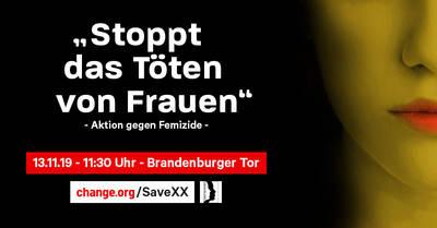 Aktion: Stoppt das Töten von Frauen #saveXX