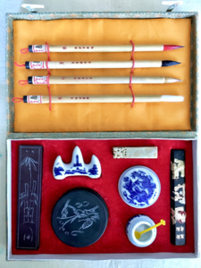 Chinesische Tuschmalerei mit Teeverkostung