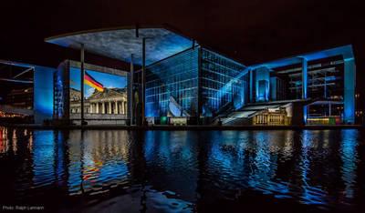 Film- und Lichtprojektion am Deutschen Bundestag