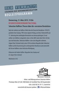 Diskussionsveranstaltung Sebastian Haffner und seine streitbaren Thesen zur