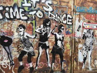 Graffiti mit stlylischen Menschen