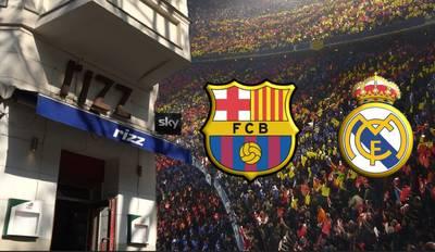 El Clasico Barca - Real Madrid on big screen in Berlin Kreuz...