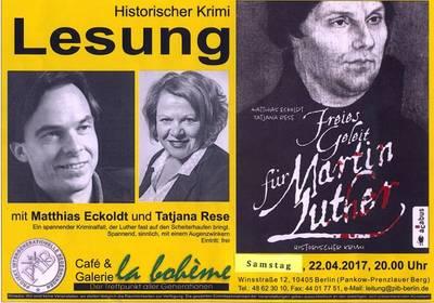 """Berliner Premierenlesung: Krimi """"Freies Geleit für Mart..."""