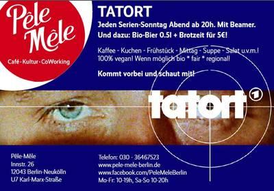 TATORT-Abend mit Beamer auf Leinwand im Pêle-Mêle Neukölln!