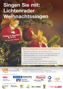 Open-Air-Weihnachtssingen des Unternehmer-Netzwerk Lichtenrade am 8. Dezember ab 18 Uhr vor der Alten Mälzerei