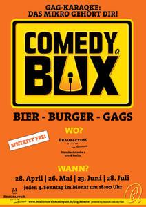 Comedy-Box mit Bier, Burgern und Gags