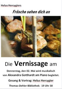 Helus Hercygier - Vernissage mit Musik-- Frösche sehen dich ...