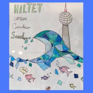 Haltet die Gewässer sauber - Plakat mit Berliner Fernsehturm und Adaption der Hokusai Welle