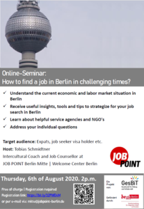 Online-Seminar: How to find a job in Berlin in challenging t...