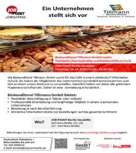 Jobdating mit Biokonditorei Tillmann GmbH