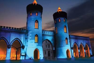 Nauener Tor beleuchtet bei Potsdamer Lichtspektakel