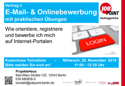 Vortrag: E-Mail- und Onlinebewerbung mit praktischen Übungen