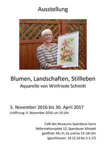 Ausstellung: Blumen, Landschaften, Stillleben − Aquarelle vo...
