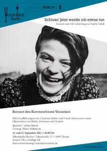 Konzerte des Kammerchors Vocantare zur Erinnerung an Sophie Scholl