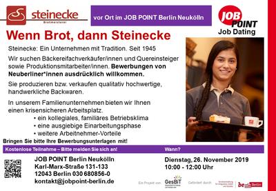 Job Dating mit Meisterbäckerei Steinecke GmbH & Co KG