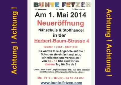 Neueröffnung : Bunte Fetzen® - Nähschule & Stoffhandel j...