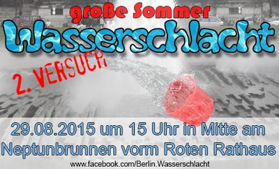 Große Sommer Wasserschlacht am Neptun Brunnen vorm Roten Rat...